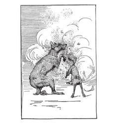 Reynard the fox fighting the wolf vintage vector
