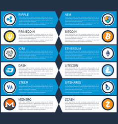 ripple and dash cryptocurrency vector image