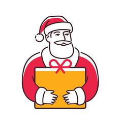 santa claus with gift christmas symbol vector image