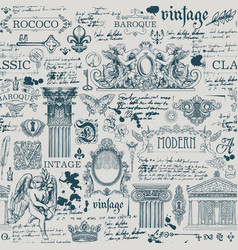 seamless background with vintage sketches vector image