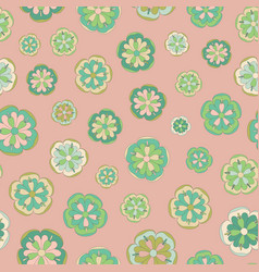 Seamless repeat pattern vintage colored flowers vector