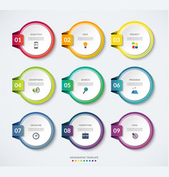 set 9 infographic circle templates vector image