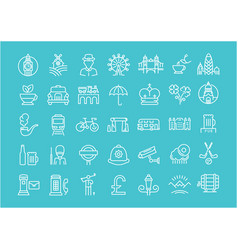 Set flat line icons uk vector