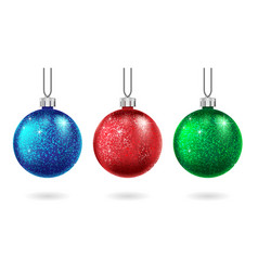 set of christmas red blue and green ball isolated vector image