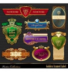 set of golden luxury frame vector image vector image