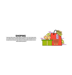 shopping commerce concept horizontal banner with vector image
