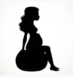 Silhouette of a pregnant woman sitting on a vector