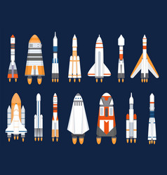 space rockets flat spaceship shuttles launched vector image