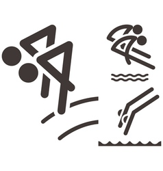 synchronized diving icons vector image