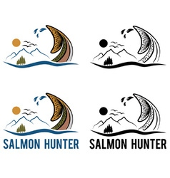 tail of salmon on the background of landscape vector image