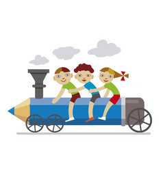 three little children riding locomotive pencil vector image