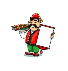 Turkish cook with menu and shashlik vector image