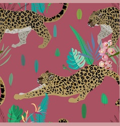 two leopards on a red background seamless vector image