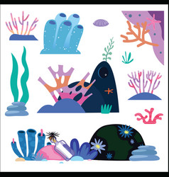 underwater plants and inhabitants vector image
