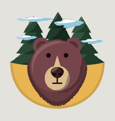 Wanderlust with bear wild animal to aventure vector