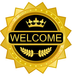 Welcome gold badge icon vector