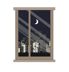 Window and night city view flat style vector