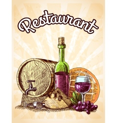 Wine cheese and bread poster vector image