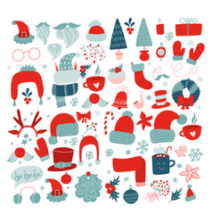 year holidays icon big set red vector image
