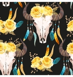Buffalo skull decorated with flowers seamless vector image