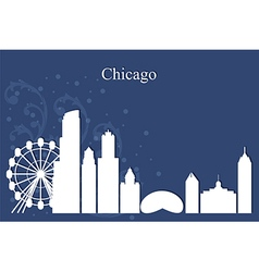 Chicago city skyline on blue background vector