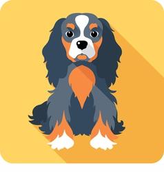 Dog cavalier king charles spaniel sitting icon fla vector