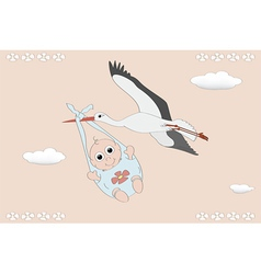 Flying stork with a newborn vector image vector image