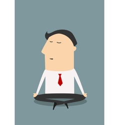 Cartoon meditating businessman character in flat vector image