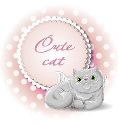 Cute cat angel vector