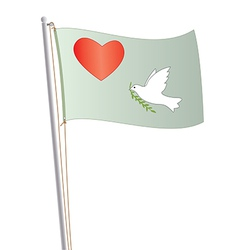 flag with heart vector image vector image