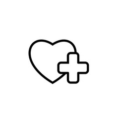 heart with medical sign icon on white background vector image