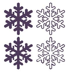 Set of Four Snowflakes thin line ftat design vector image