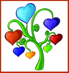 tree with hearts and valentines vector image