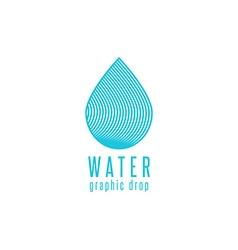 Water drop logo line blue design element creative vector image vector image