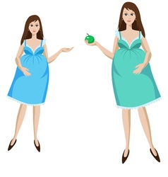 young pregnant woman in blue dress vector image