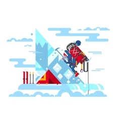 Climber conquers the summit vector image