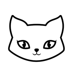 face cat fluffy lovely animal outline vector image vector image