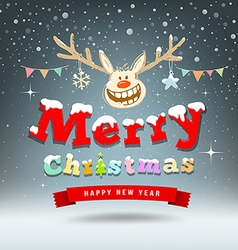 Merry Christmas Reindeer sketch design vector image
