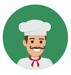 moustached smiling chief-cooker in green circle vector image