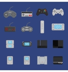 pixel art game design icon set - console gamepad vector image vector image