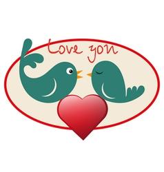 Beautiful birdie in love vector image