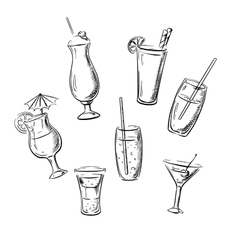 Drinks cocktails and beverages sketches vector image vector image