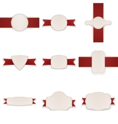 Empty festive Labels with Ribbons Set vector image vector image