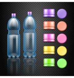 empty plastic water drink bottles with set vector image vector image