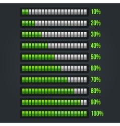 Green Progress Bar Set 10-100 vector image vector image