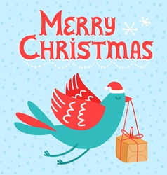Merry Christmas bird vector image