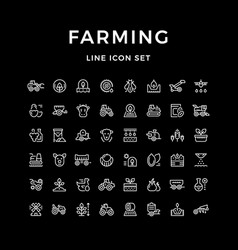 Set line icons of farming and agriculture vector