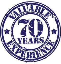 Valuable 70 years of experience rubber stamp vect vector image vector image