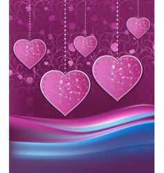 violet background with hearts vector image vector image