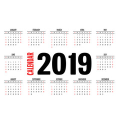 2019 calendar simple clear design template vector image